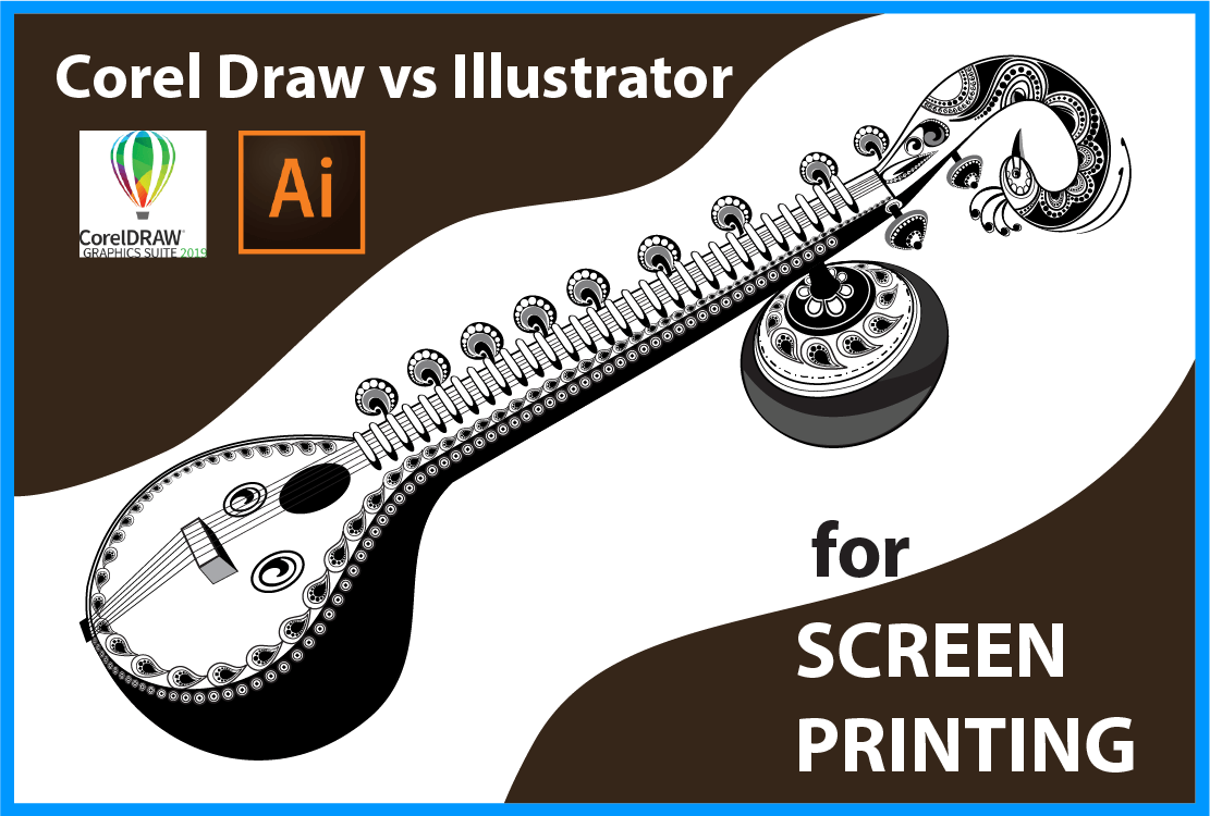 Sitar Line art Clip Art Design for Screen Printing, The ultimate guide : Corel Draw vs Illustrator for screen printing