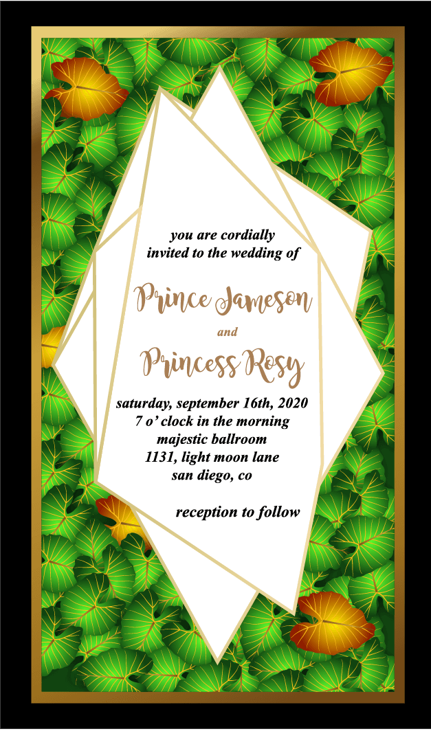 Beautiful Leaf Background Floral Wedding Invitation Card Template Vector Eps