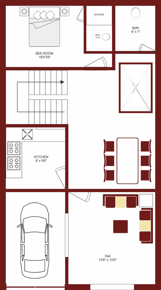 1 BHK SINGLE STORY 5 MARLA HOUSE PLAN (B)