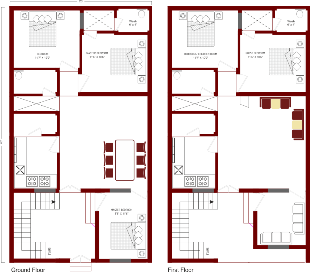 5 MARLA HOUSE PLAN DOUBLE STORY