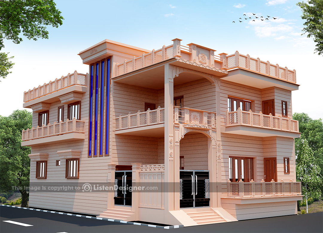 house front design indian style - Jodhpur Stone House