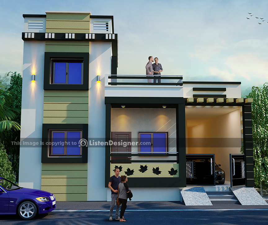 house front design indian style h