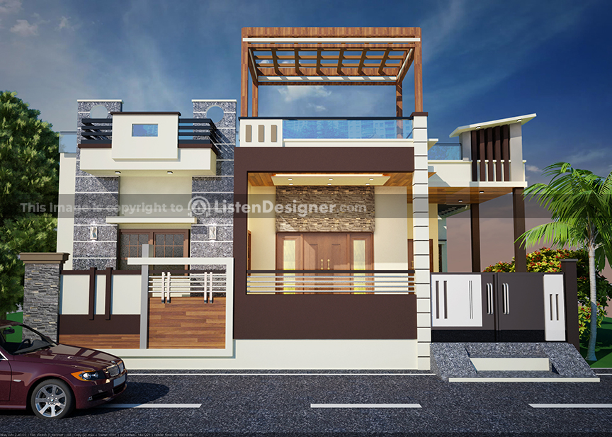house front design indian style k