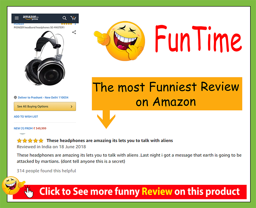 funny amazon review on pioneer headband headphone se-master 1