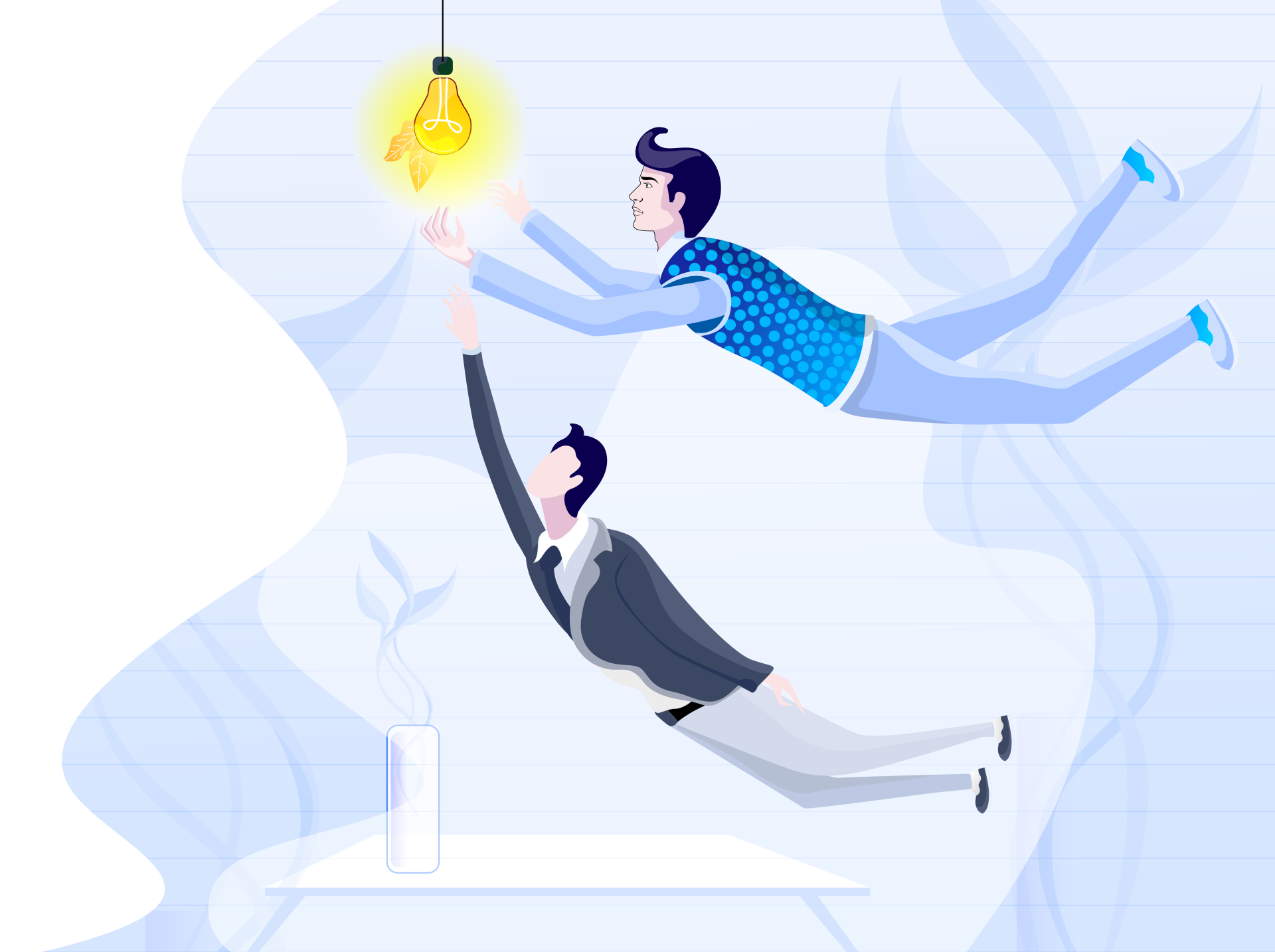 Two men flying for an idea bulb
