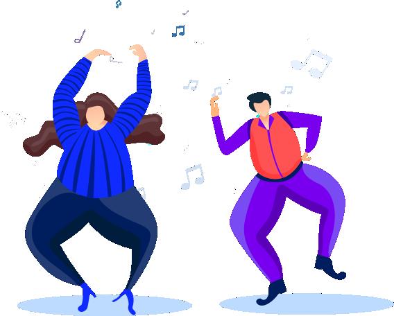 dancing girl flat illustrations vector in adobe illustrator