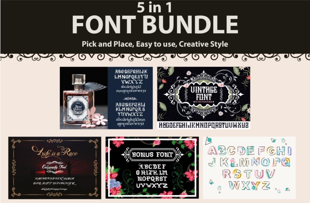 Vintage font bundle- vintage illustration