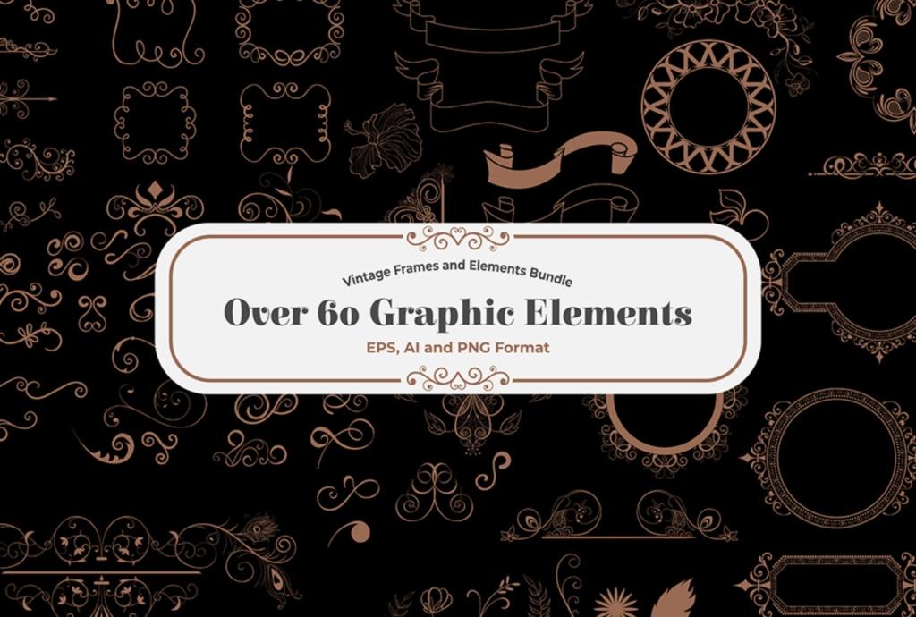 calligraphy element vintage font bundle