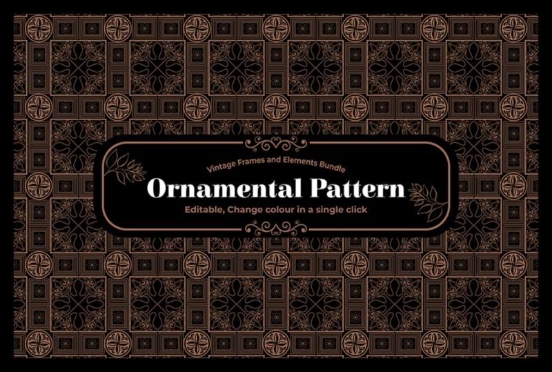ornamental pattern vintage font bunlde